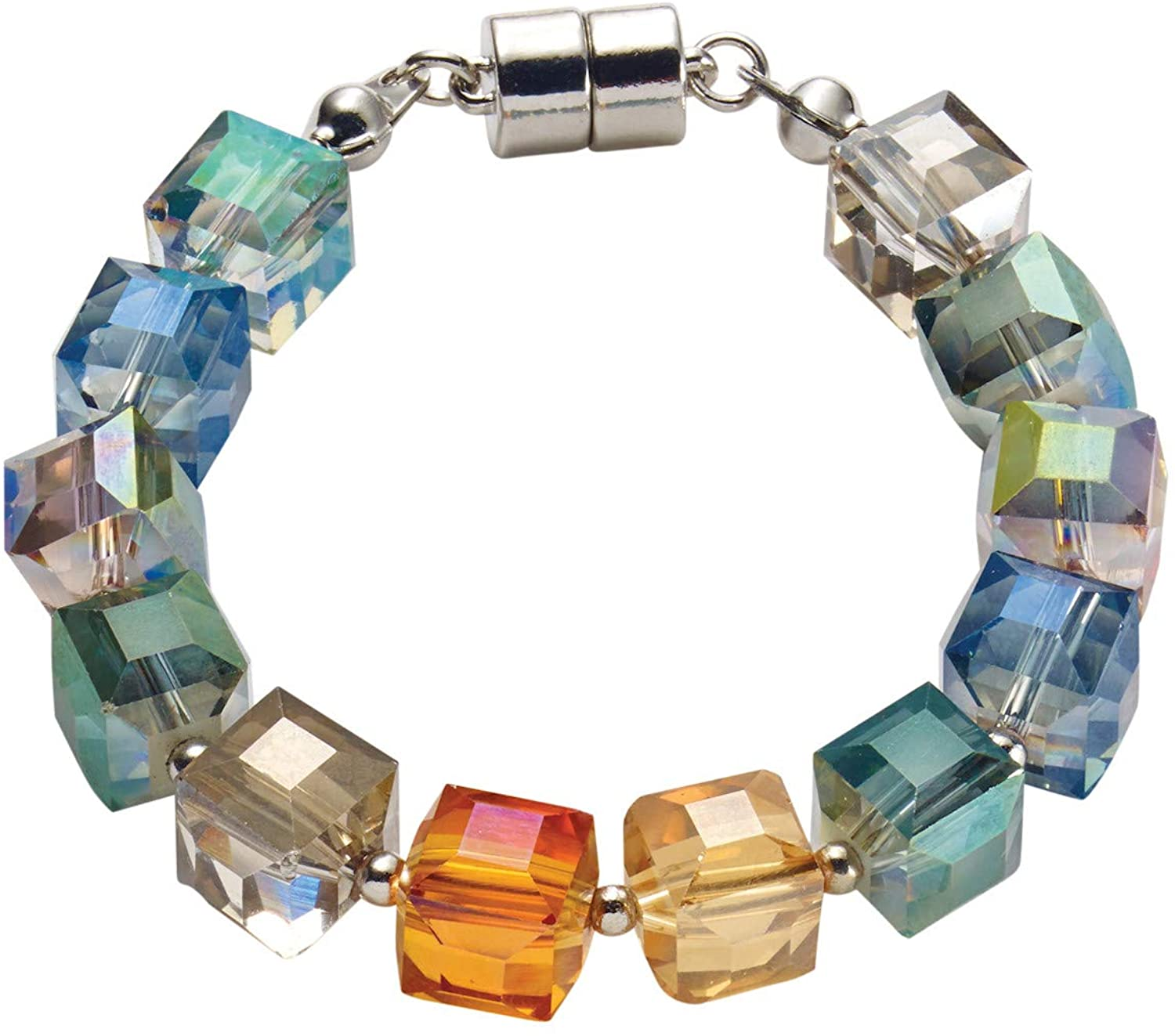 Origin Jewelry Women's Crystal Cubes Bracelet - Glass Beads, Magnetic Clasp