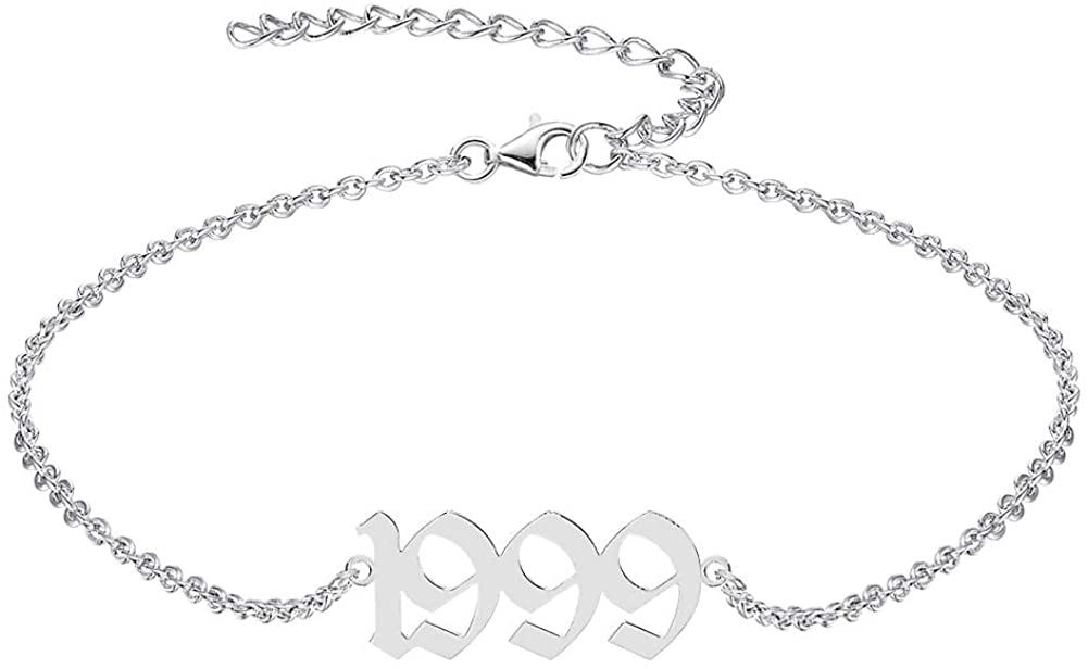 QJLE Birth Year Silver Anklets for Women Teen Girls,Adjustable Foot Chain Ankle jewerly Bench Anklet Bracelet for Women Birthday Gifts