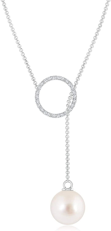 South Sea Cultured Pearl Circle Lariat Necklace (9mm South Sea Cultured Pearl)