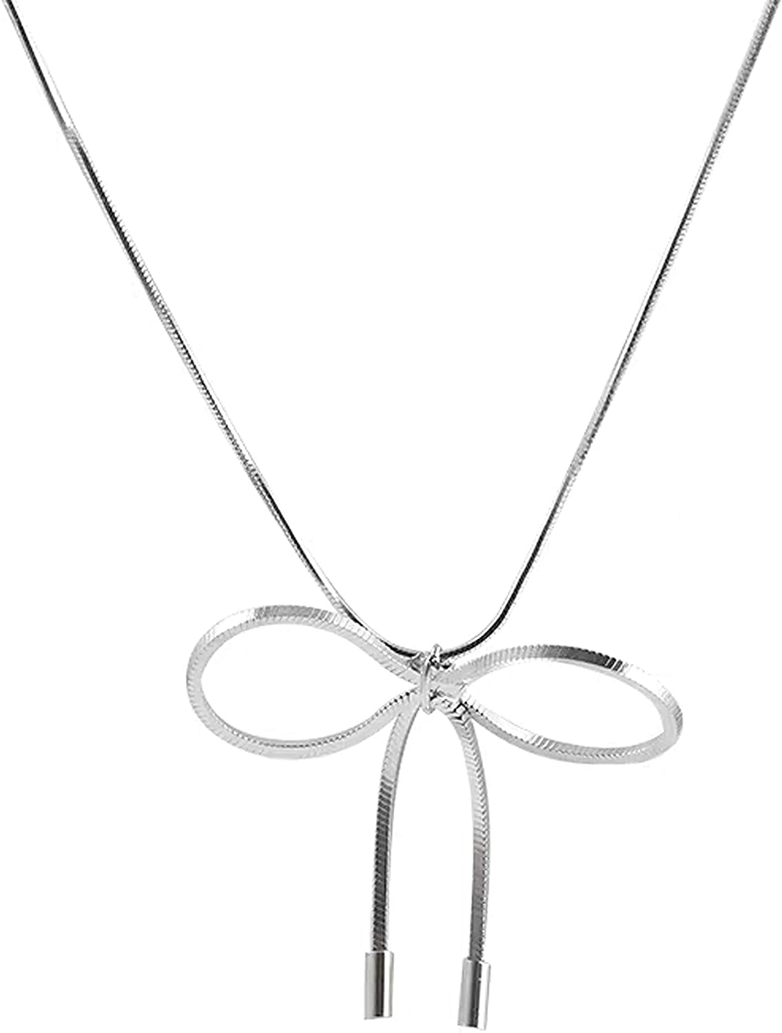 Hiqmic 925 Sterling Silver Gold Plated Fashion Bowknot Neck Chain Necklace 12.5