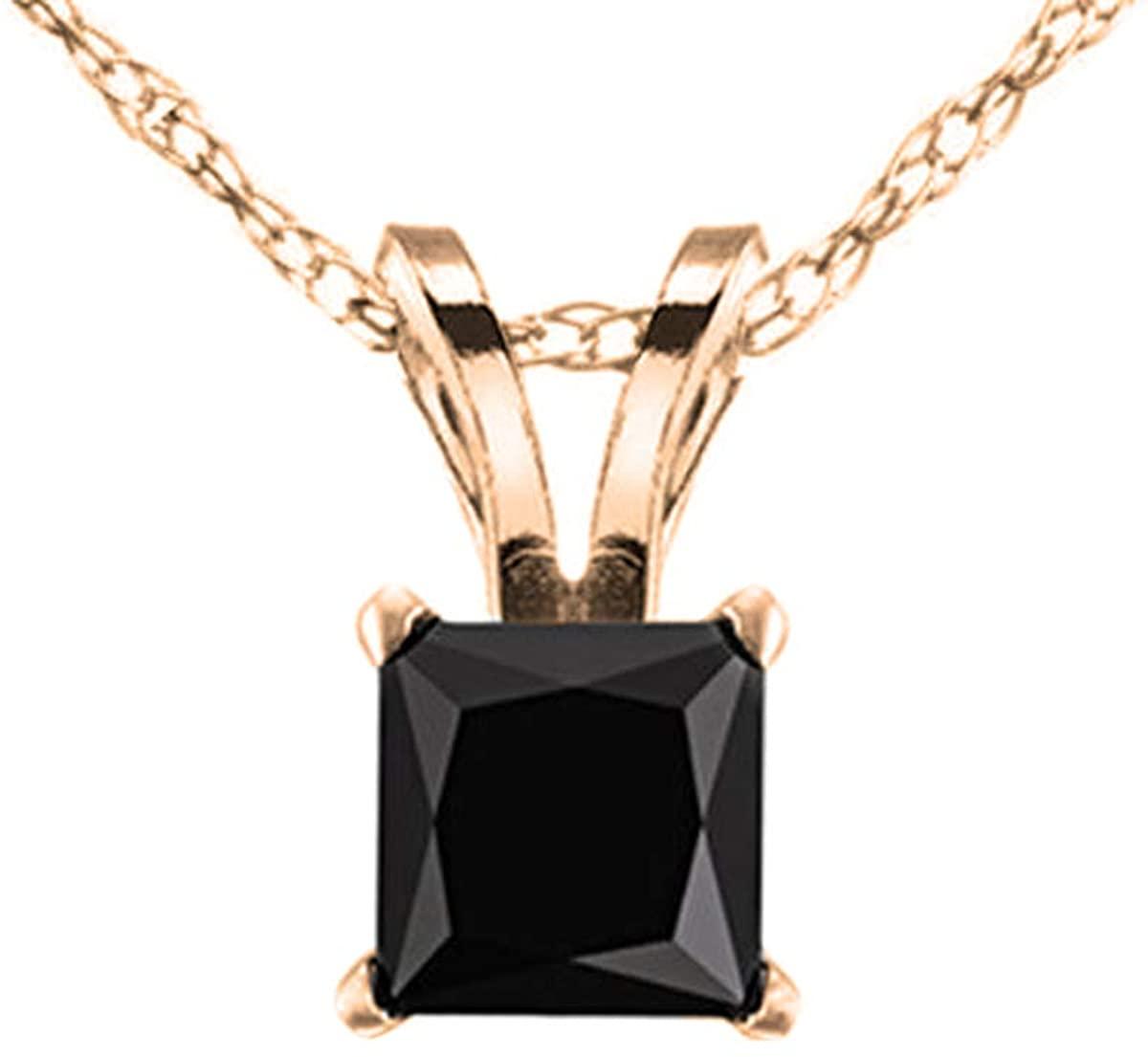 Dazzlingrock Collection 0.50 Carat (ctw) 10K Gold Princess Black Diamond Ladies Solitaire Pendant 1/2 CT