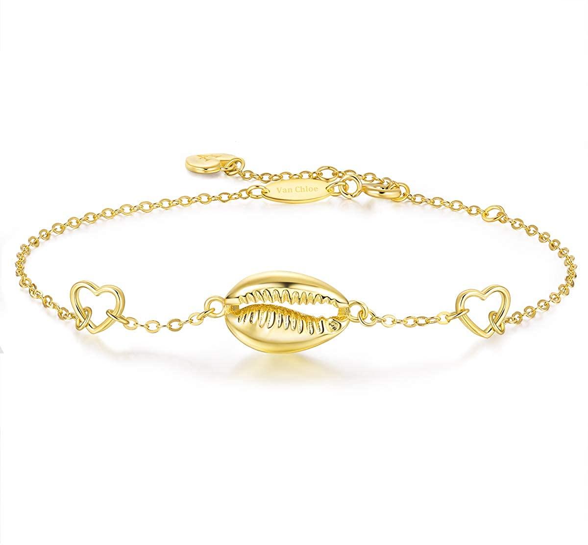 Van Chloe 925 Sterling Silver Shell Bracelet Boho Seashell Adjustable Bracelet Jewelry Gifts for Women Teen Girls Christmas