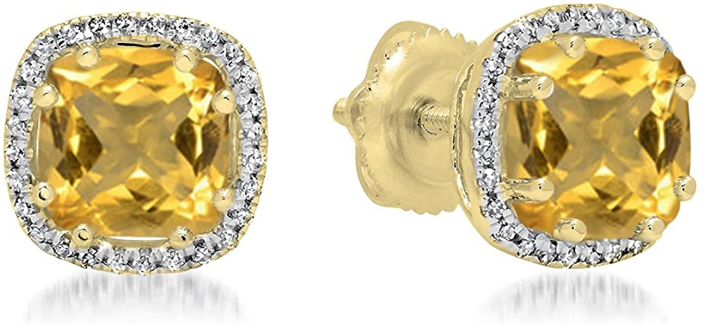 Dazzlingrock Collection 14K Ladies Halo Style Stud Earrings, Yellow Gold