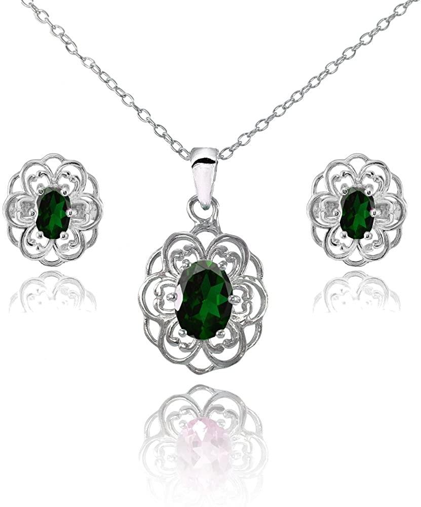 Sterling Silver Genuine Simulated Gemstone Oval Filigree Flower Pendant Necklace Stud Earrings Set