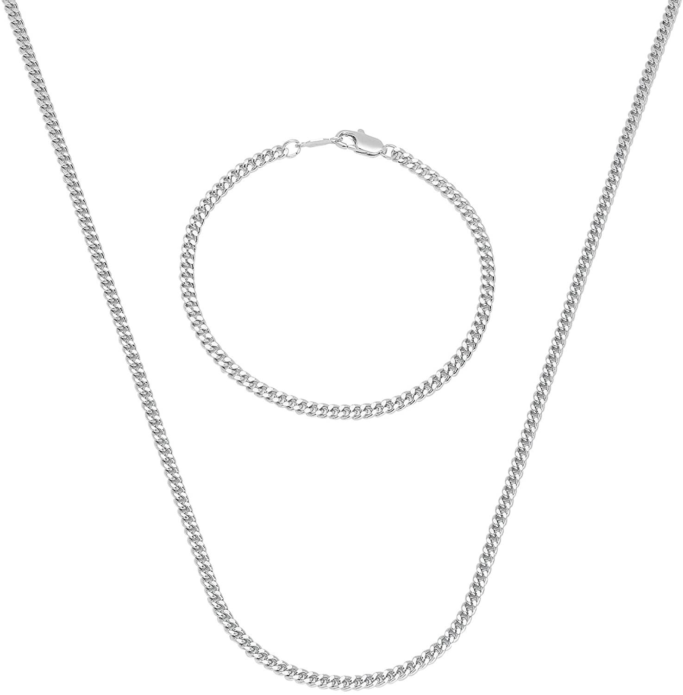 The Bling Factory 3mm 0.25 mils (6 microns) Rhodium Plated Cuban Link Curb Chain Necklace + Bracelet Set, 16' (Necklace) + 8' (Bracelet)