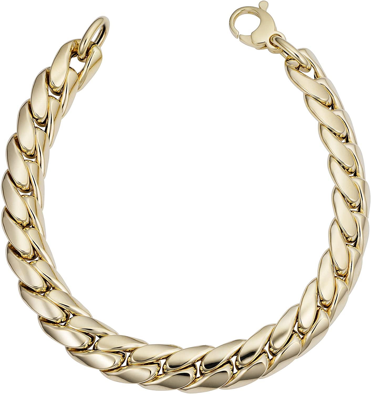Kooljewelry Mens or Womens 14k Yellow Gold Miami Cuban Curb Bracelet (9.9 mm, 8.5 inch)