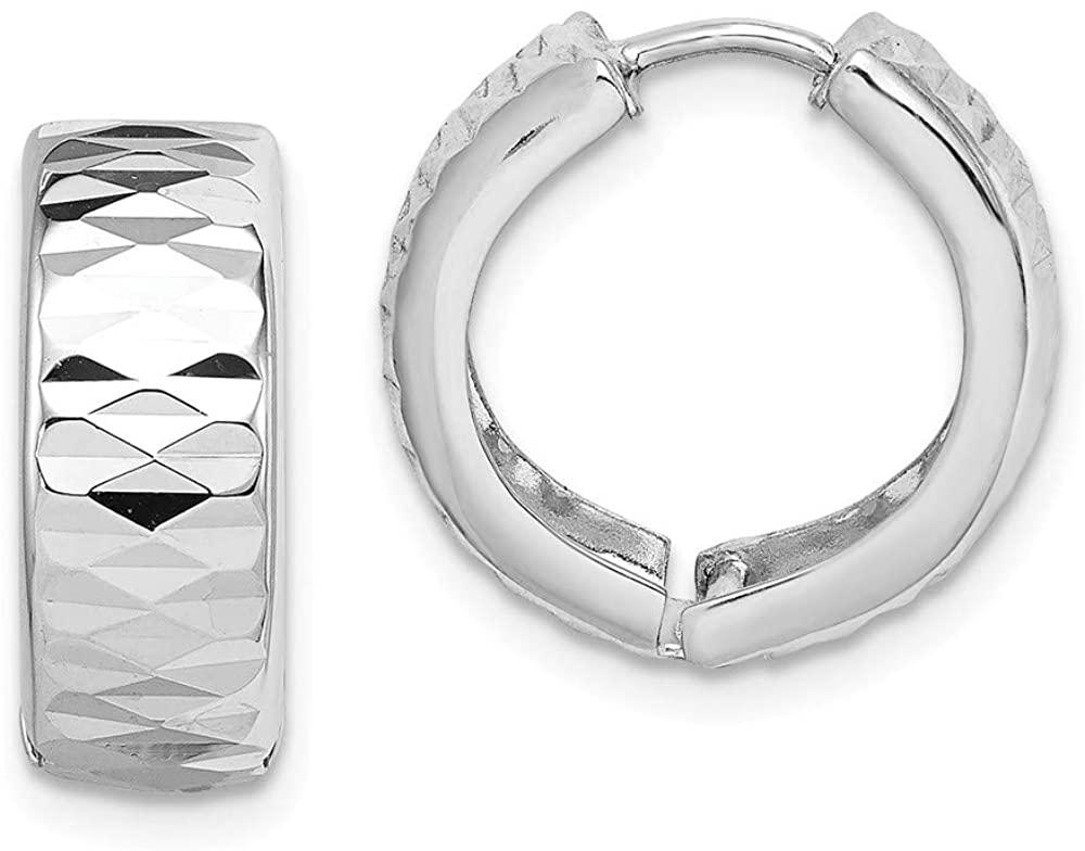 Mia Diamonds 925 Sterling Silver Rhodium Diamond-Cut Polished Hinged Hoop Earrings (16mm x 16mm)