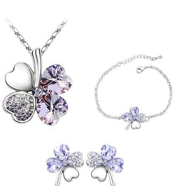 Mammoth Sales St. Patricks Day Shamrock Clover Jewelry Set w/Earrings Bracelet and Necklace (Lt Purple)