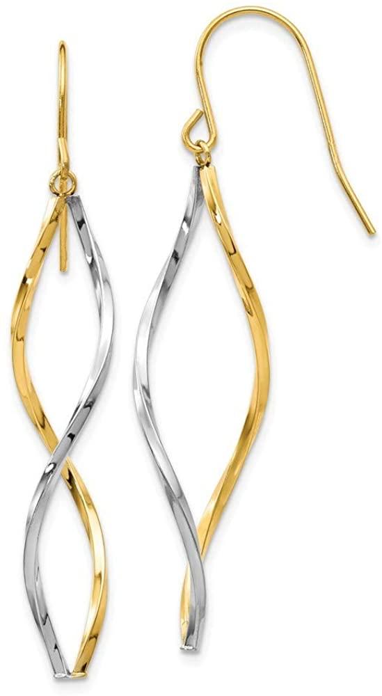 14k Two Tone Hollow Polished Shepherd hook Gold Twist Long Drop Dangle Earrings Jewelry Gifts for Women