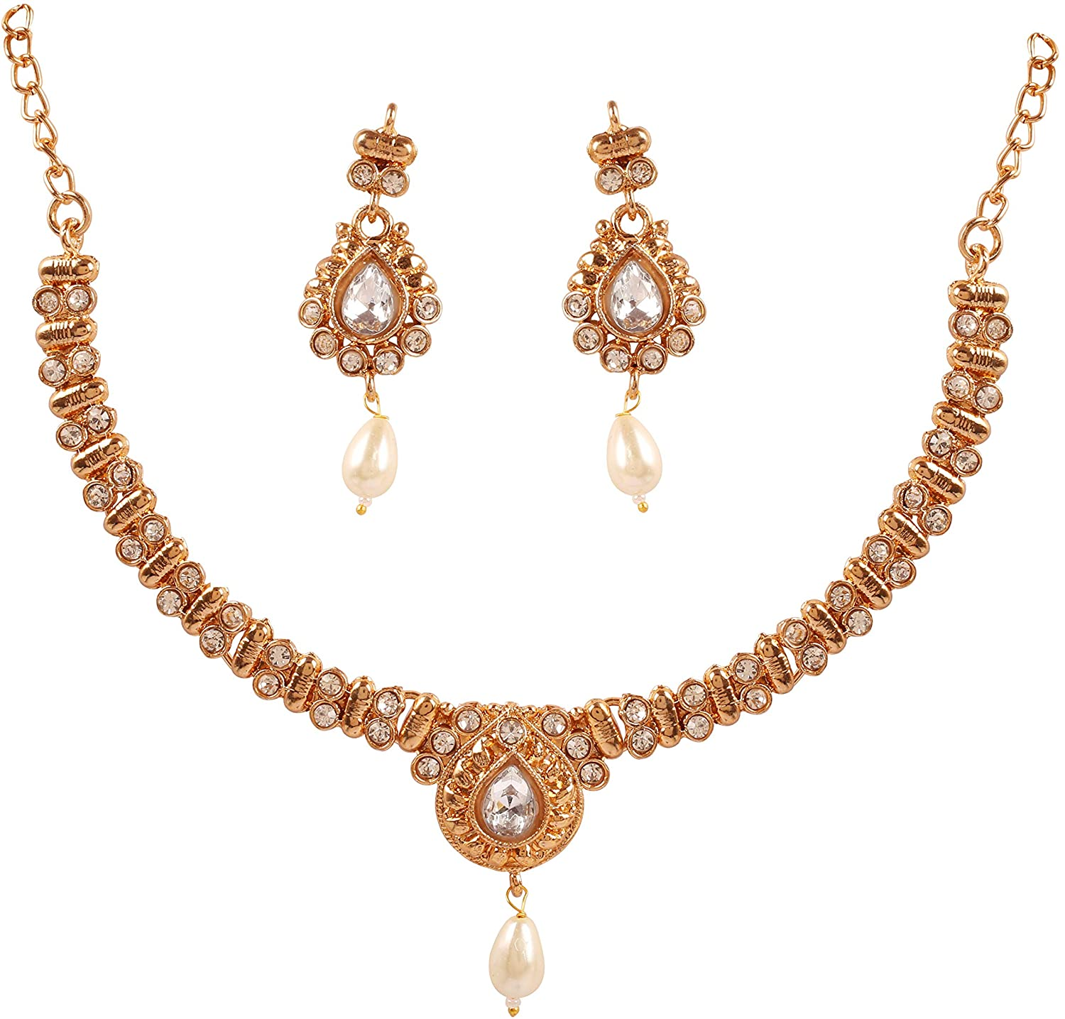 Touchstone Indian Bollywood Traditional Studded Look Rhinestone Pretty Wedding Designer Jewelry Necklace Set in Antique Gold Tone for Women.