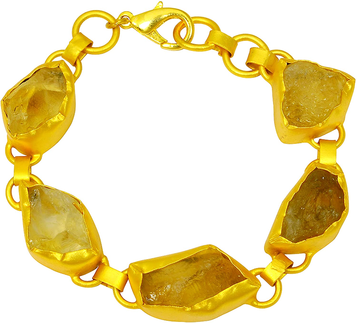 Orchid Jewelry 57.00 Ctw Fancy Yellow Citrine Solid Brass Fashion Bracelet for Women