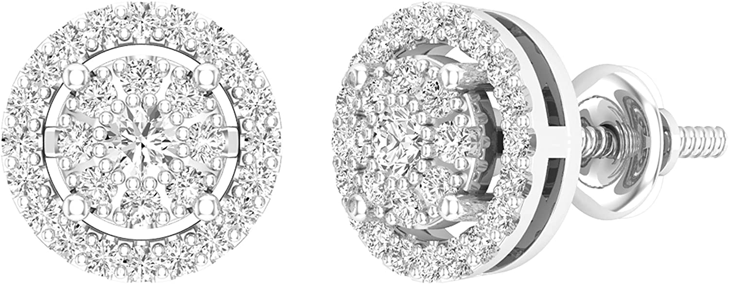 Dazzlingrock Collection 0.45 Carat (ctw) Round Lab Grown Diamond Ladies Cluster Stud Earrings 1/2 CT, Available in 10K/14K/18K Gold & 925 Sterling Silver
