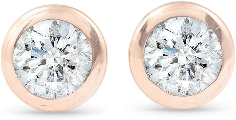 1/3 ctw 14k Rose Gold Diamond Bezel Martini Stud Earrings