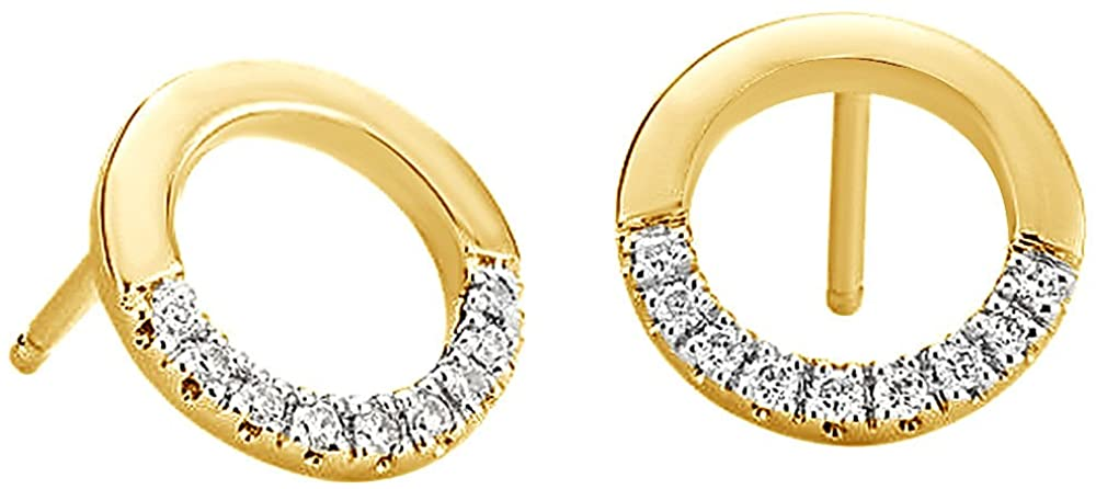 Sparkling Natural Diamond Open Circle Stud Earrings In 10K Solid Gold