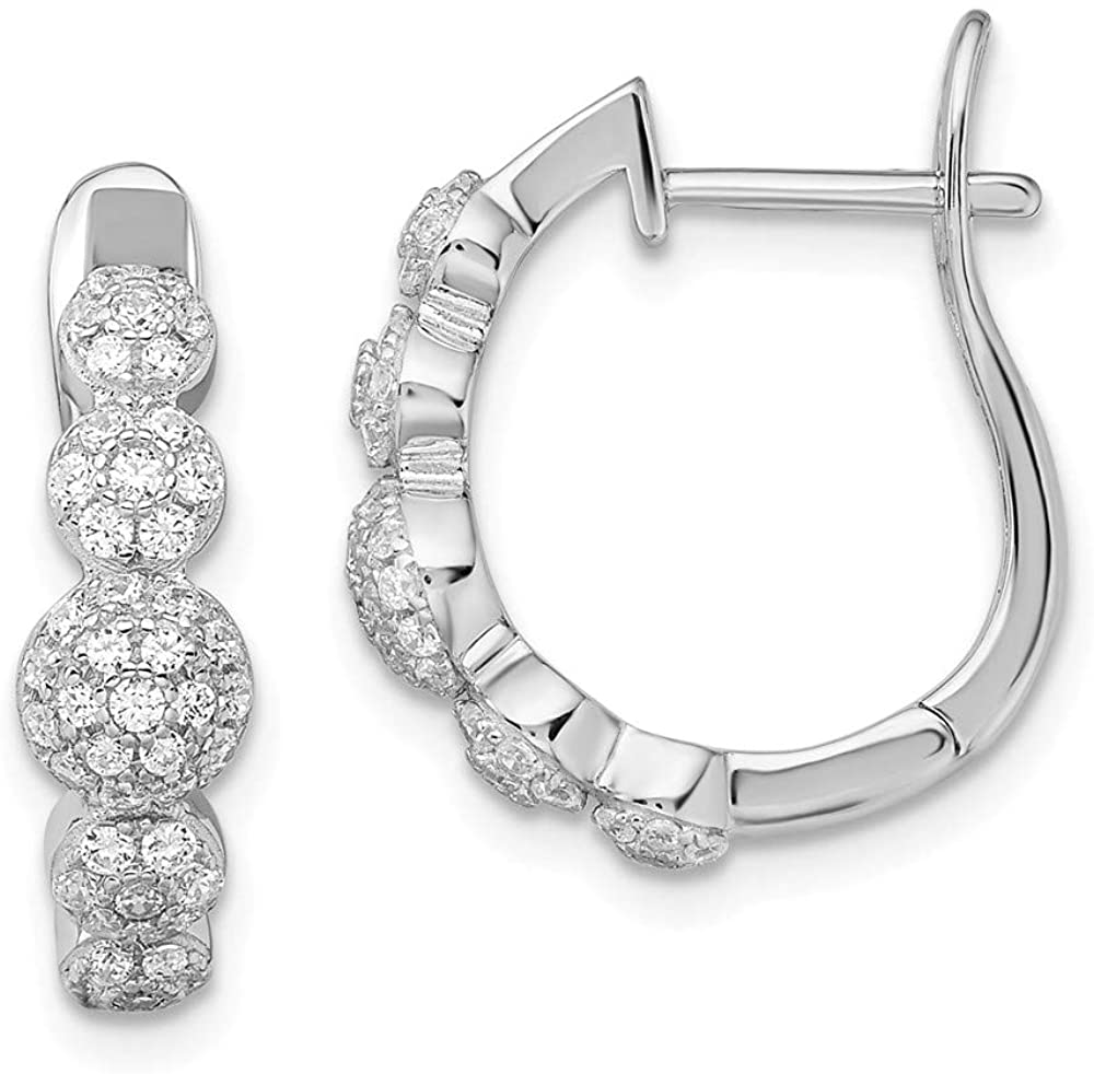 925 Sterling Silver Cubic Zirconia Cz Hinged Hoop Earrings Ear Hoops Set Fine Jewelry For Women Gifts For Her