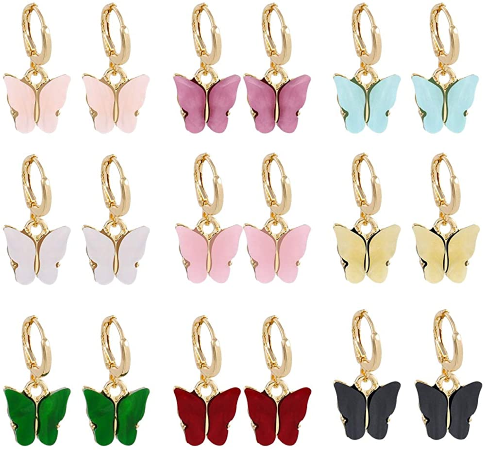 HEQUSigns 9 Pairs Butterfly Drop Earrings Acrylic Colored Earrings Thick Huggie Hoop Earrings for Women & Girls Fashion Jewelry Gift