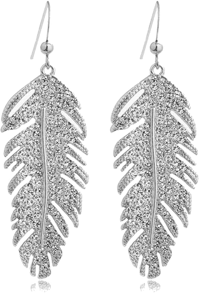 Feather Necklace Earrings - Long Silver Feather Pendant Necklace - Silver Metal Feather Earrings - Cute Feather Jewelry Set with Rhinestones - Silver and Gold Feather Jewelry