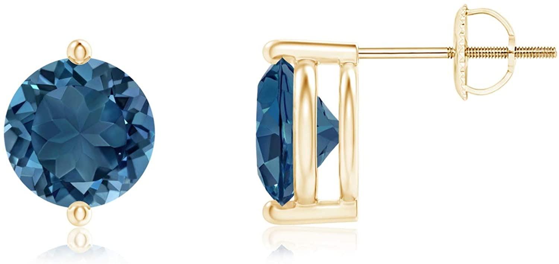 Unique Two Prong-Set London Blue Topaz Stud Earrings (7mm London Blue Topaz)