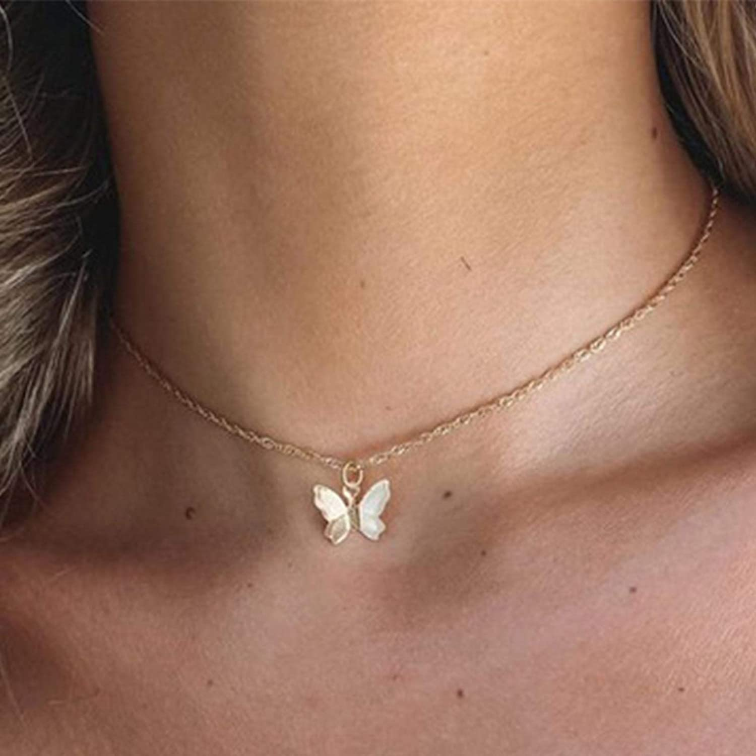 Hermashy Butterfly Choker Necklace Gold Dainty Necklaces Fashion Chain Jewelry for Women and Girls