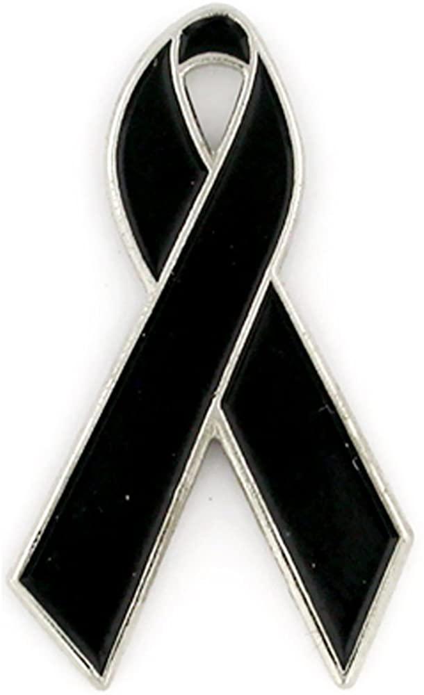 PinMart Black Awareness Ribbon Enamel Lapel Pin