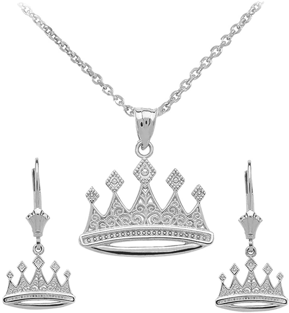 Claddagh Gold Royal 925 Sterling Silver Crown Charm Pendant Necklace and Earring Set