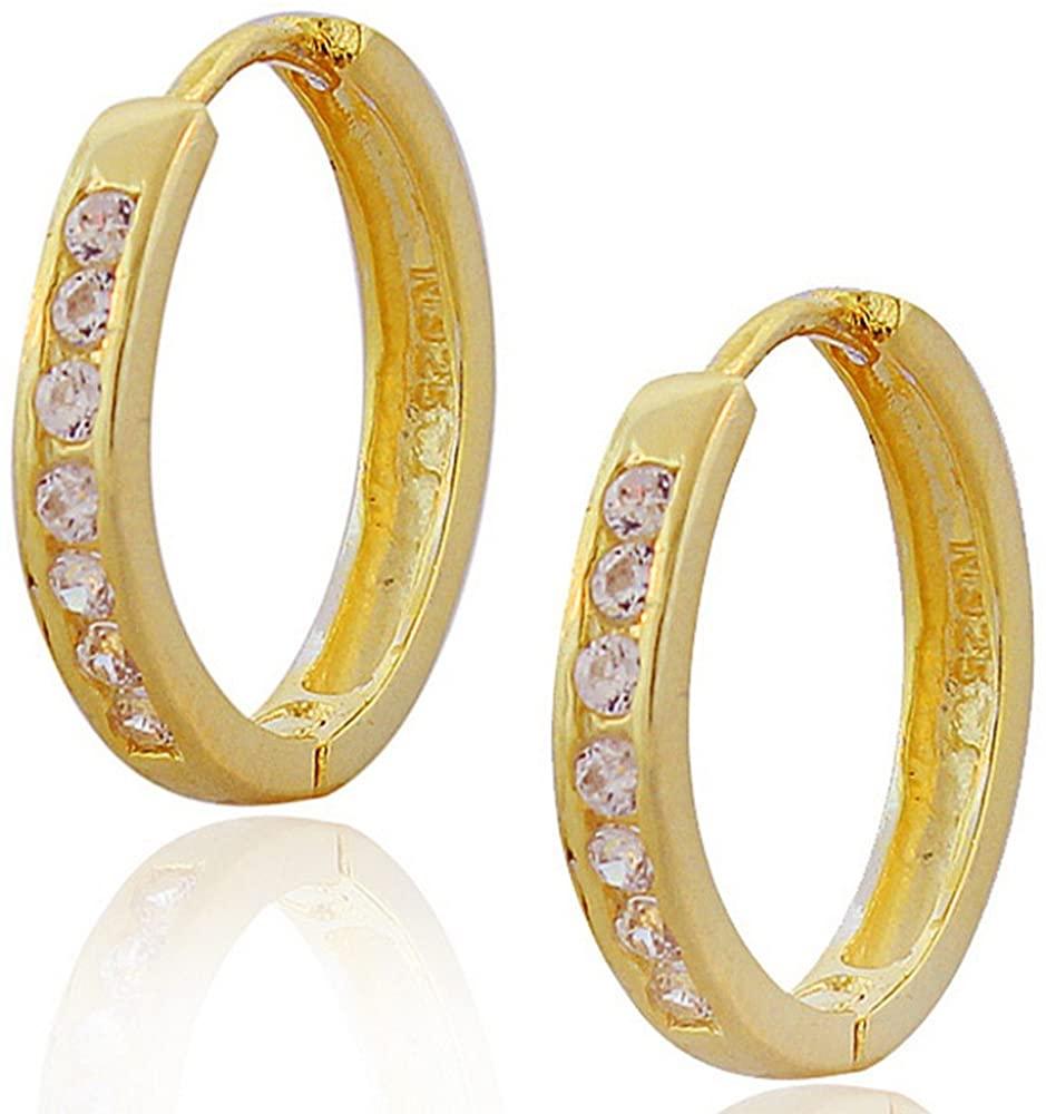 925 Sterling Silver White Round CZ Womens Girls Hoop Huggie Earrings