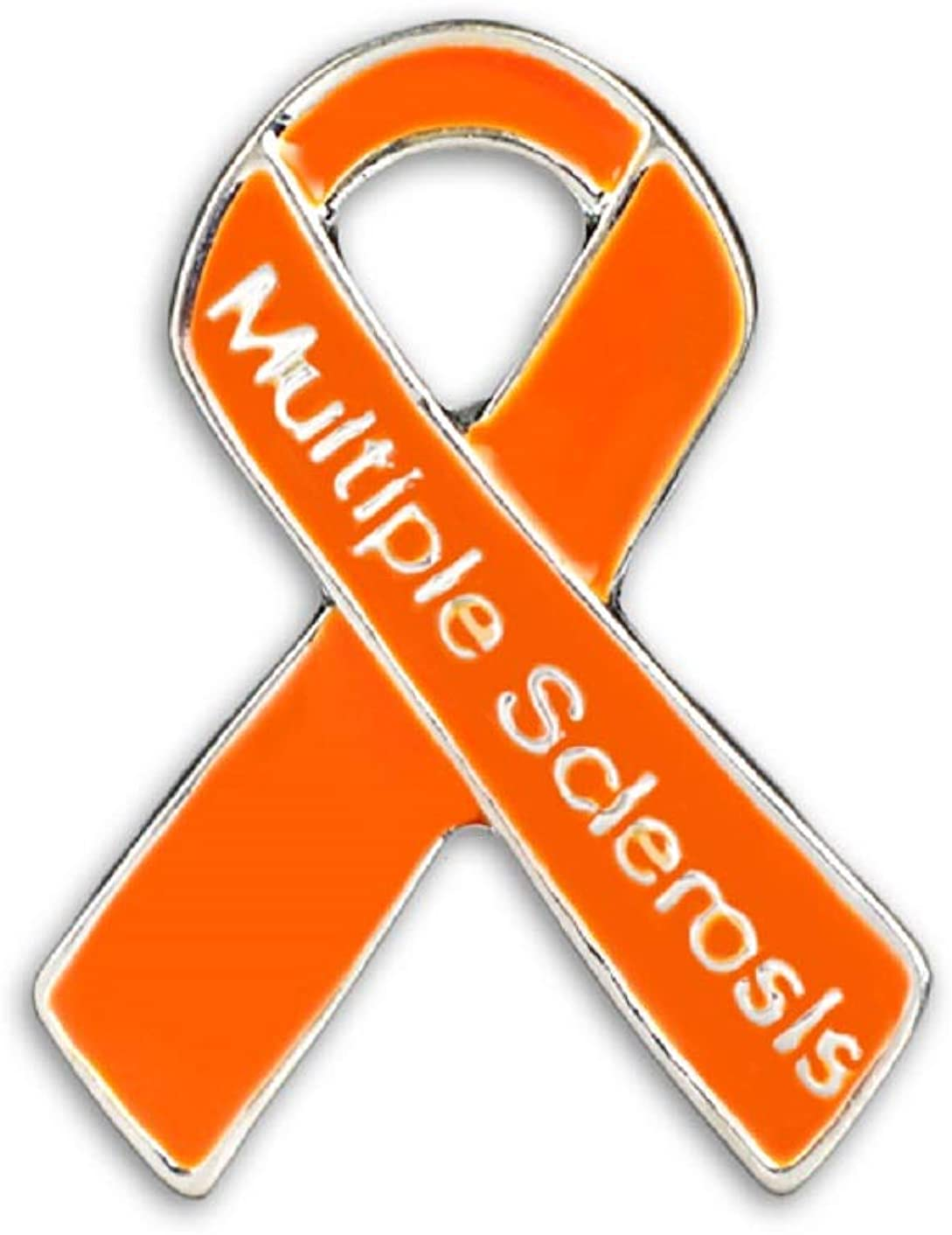 Fundraising For A Cause | Multiple Sclerosis Awareness Pins - Orange Ribbon Pins for MS Awareness