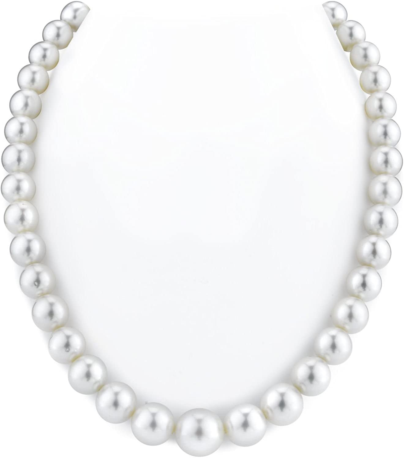 THE PEARL SOURCE 14K Gold 9-12mm Round Genuine White South Sea Cultured Pearl Necklace in 18