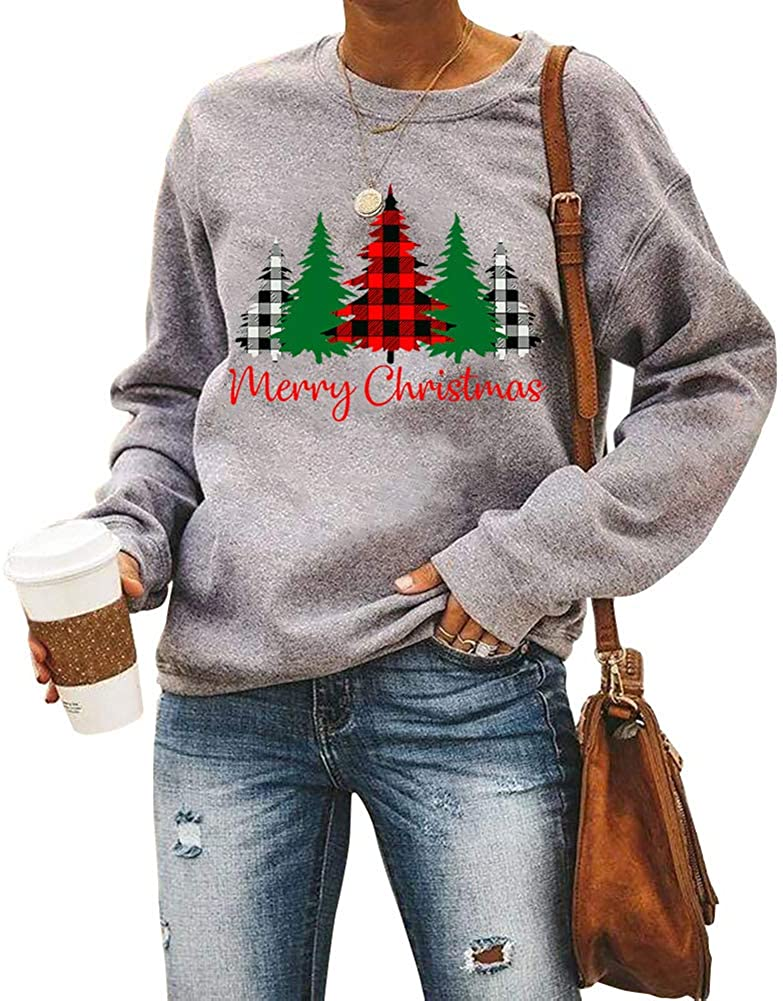Women Merry Christmas Sweater for Women Buffalo Plaid Merry Christmas Tree Print Long Sleeve Pullover Sweatshirt