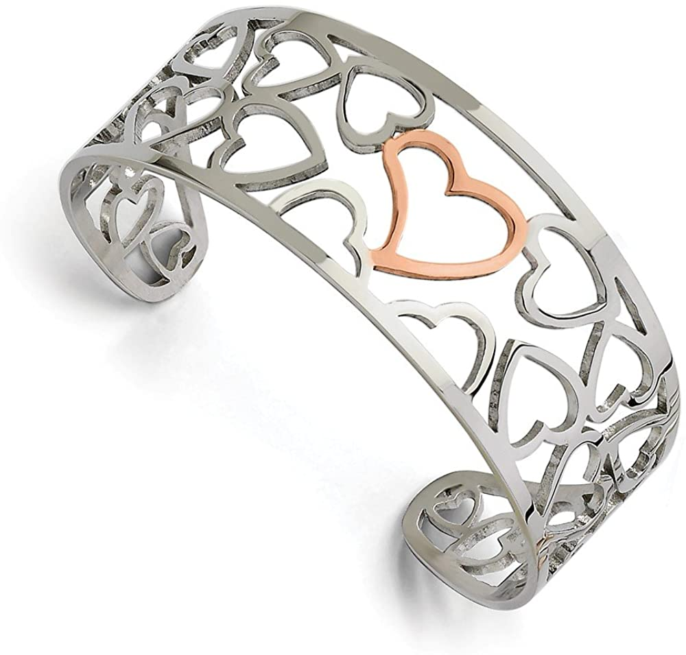 Black Bow Jewelry Stainless Steel and Rose Gold Tone Plated Hearts Cuff Bangle Bracelet