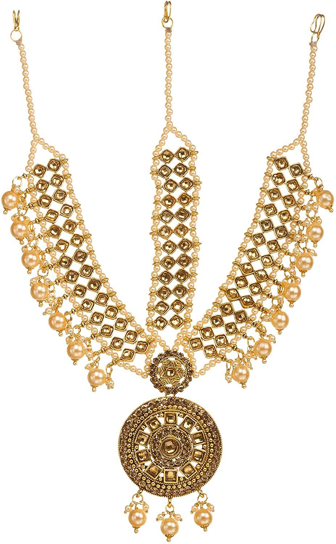 Bindhani Indian Bollywood Style Wedding Gold Plated Maang Tikka Bridal Traditional Mang Tika Jewellery Damini Bridesmaid Hair Accessories Bahubali Head Jewelry Matha Patti for Women