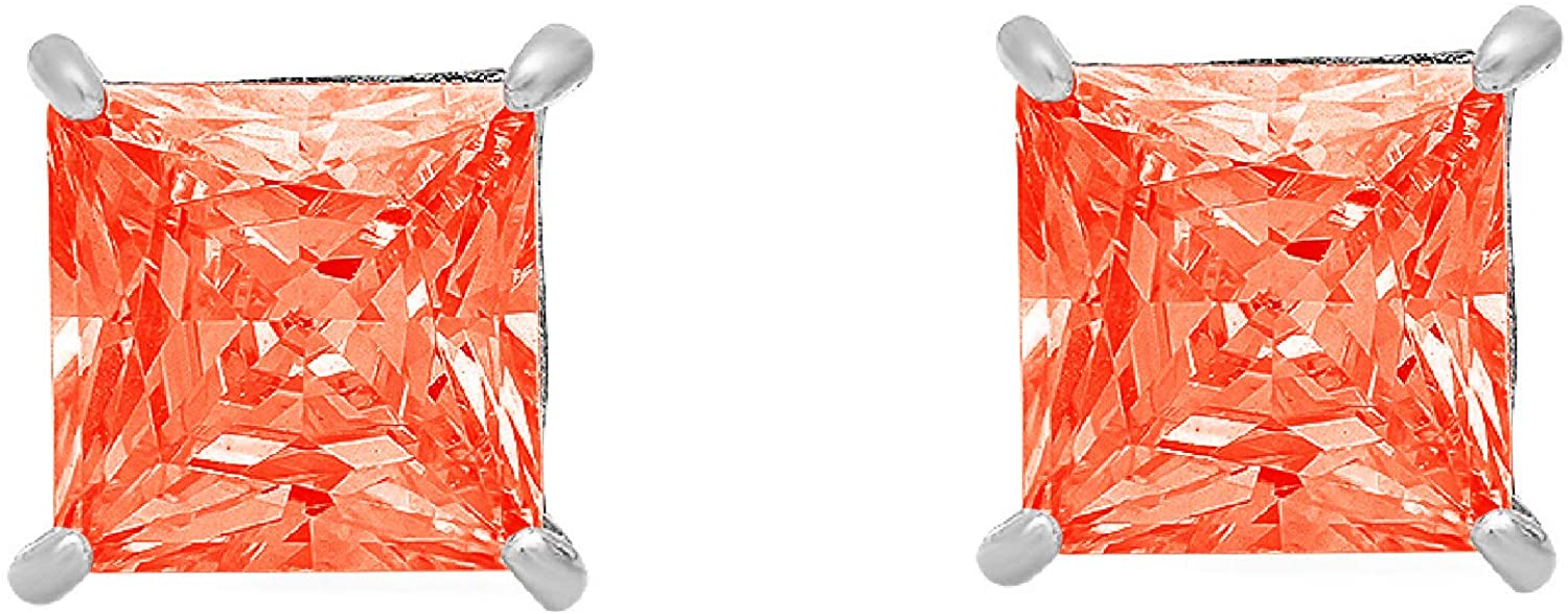 0.94cttw Brilliant Princess Cut Solitaire Fine Genuine Red Simulated Diamond CZ Unisex Anniversary Gift Stud Earrings Solid 14k White Gold Screw Back