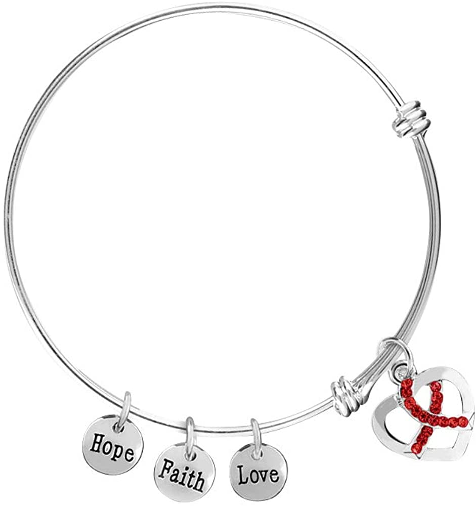 AIDS Awareness Red Ribbon Retractable Charm Bracelets (5 Bracelets Individually Bagged)