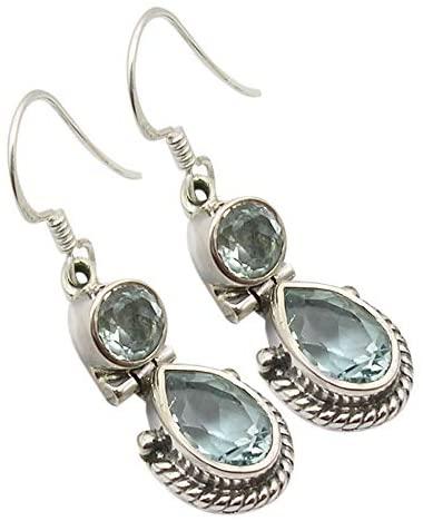 SilverStarJewel 925 Solid Silver Natural Blue Topaz tcw 4.2 2 Stone Earrings 1.3
