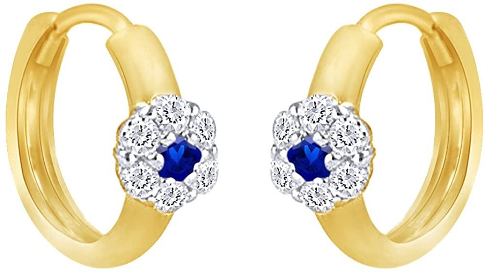 14K Gold Over Sterling Silver Simulated Garnet Flower Hoop Earrings