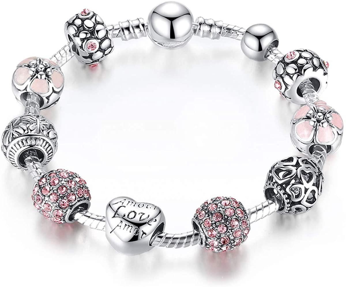 Alaxy Charm Bracelets for Women Bangle Bracelet Charm Beaded Bracelets with Rhinestone Glass Beads Birthday Party Jewelry