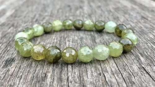 Handmade Beaded 8mm Stretchable Green Green Garnet Bracelet Round, Faceted 7