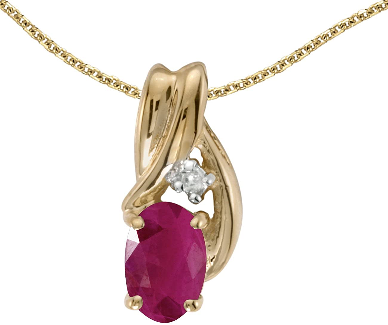 10k Yellow Gold Oval Ruby & Diamond Pendant (Chain NOT included) P1861-07