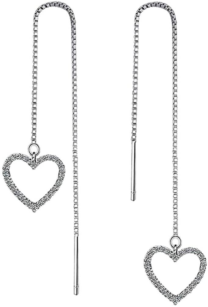 Long Chain Threader Drop Earrings Sweet Love Heart Shape Dangle Ear Line Tassel for Women Girls