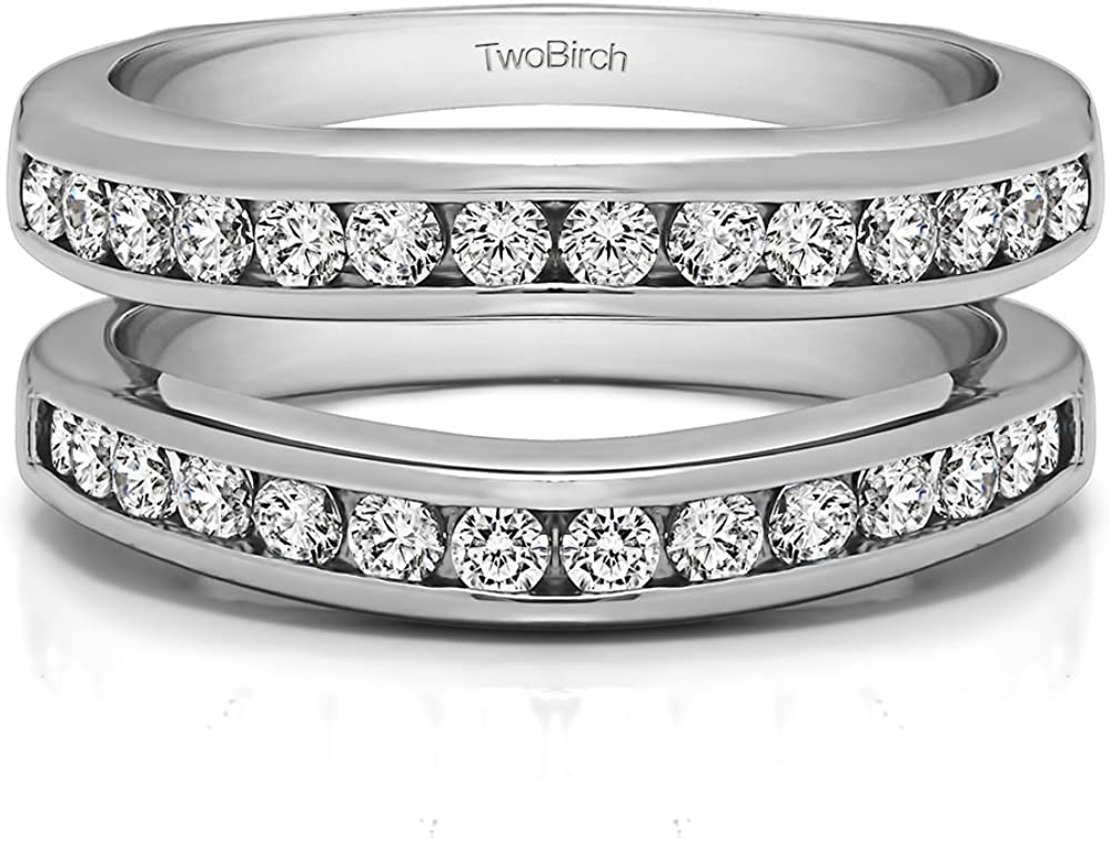 TwoBirch Sterling Silver Channel Set Contour Wedding Ring With Cubic Zirconia (0.66 ct.)