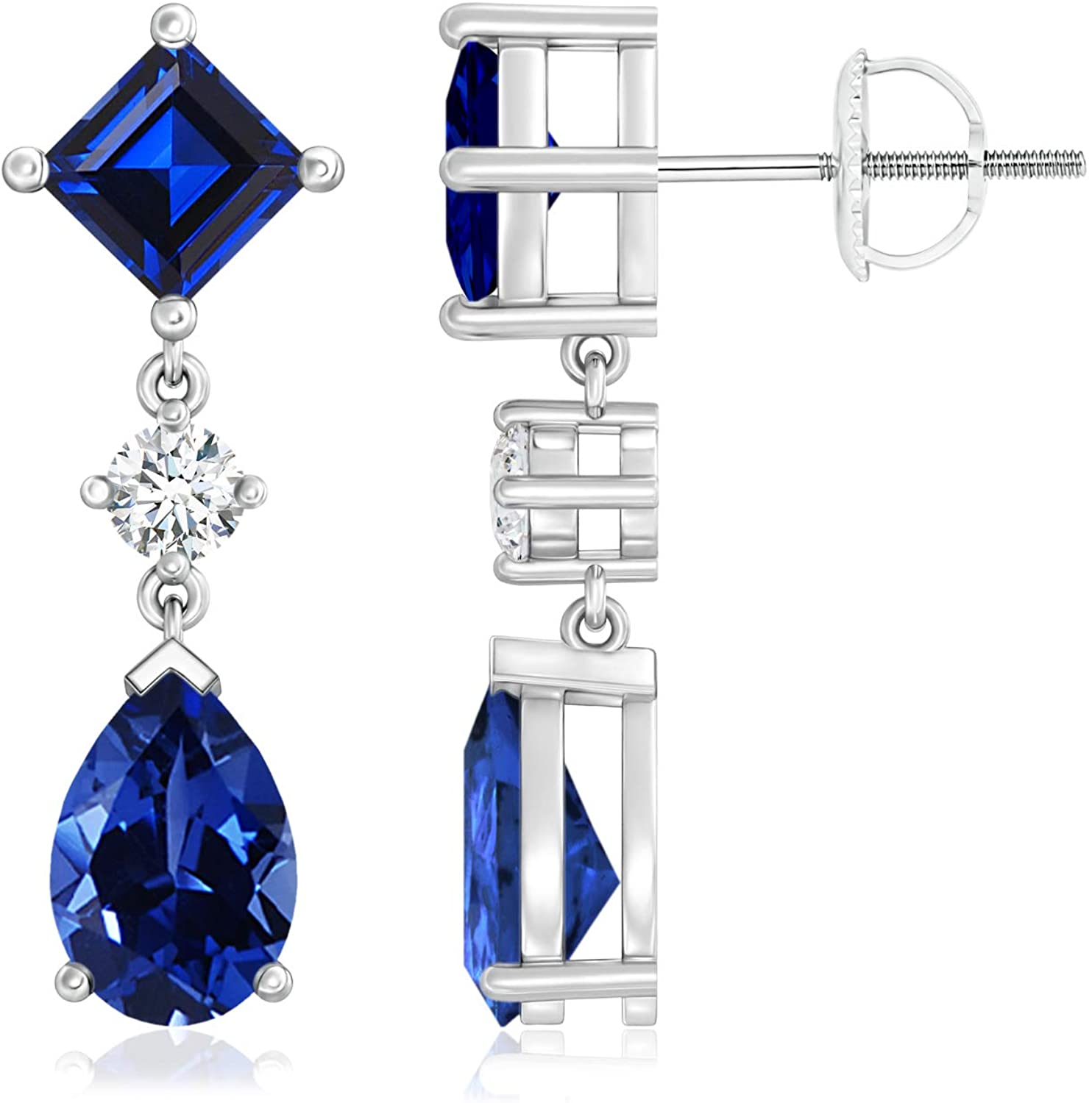 September Birthstone-Lab Created Square and Pear Blue Sapphire Drop Earrings with Diamond