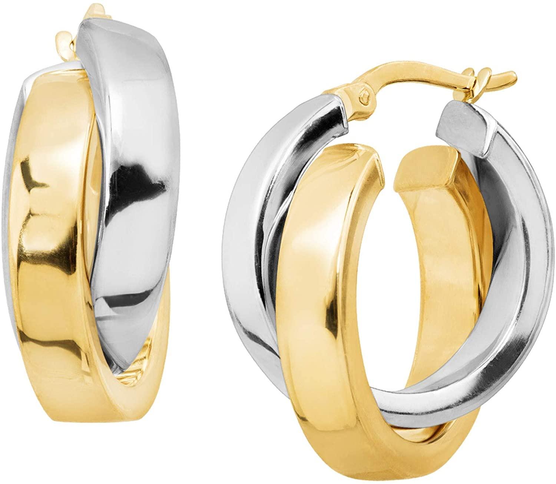 Overlapping Hoop Earrings in 14K Two-Tone Gold