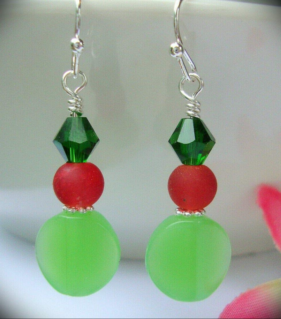 Faceted Green Red Crystal Opaque Apple Silver Dangle Earrings For Women Statement Chunky Crystal Fashion Jewelry Usa Handmade