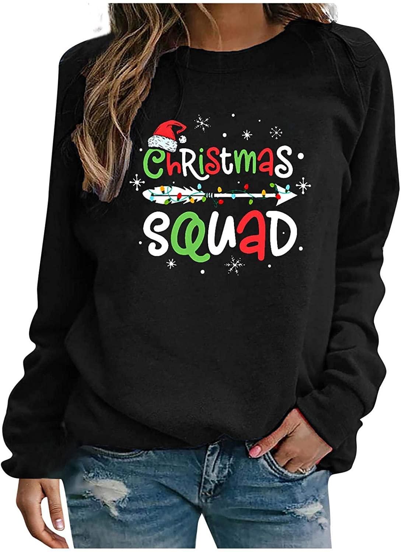 Women Christmas Printed Sweatshirt Long Sleeve Crew Neck Lightweight Pullover Tops Blouse