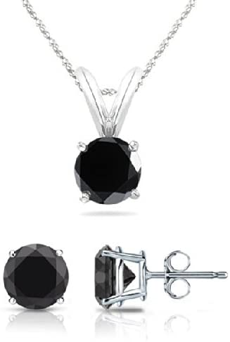 PARIKHS Round Cut Black Diamond Solitaire Pendant & Diamond Stud Set AAA Quality