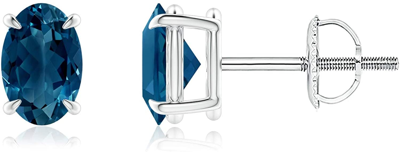 Claw-Set Solitaire Oval London Blue Topaz Stud Earrings (6x4mm London Blue Topaz)