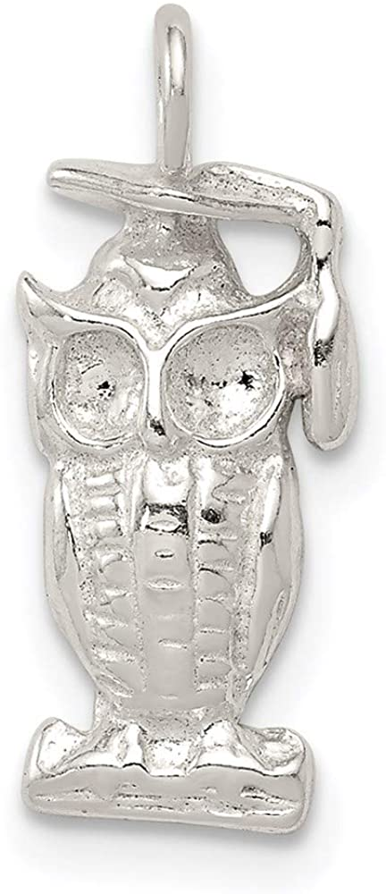 925 Sterling Silver Graduation Owl Pendant Charm Necklace Bird Fine Jewelry For Women Gifts For Her