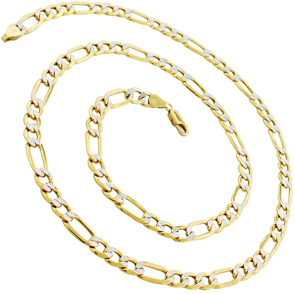 14K Yellow Gold 2.5mm - 9mm Hollow Figaro Diamond Cut Chain, FREE Microfiber Cloth, Link Necklace, Giorgio Bergamo