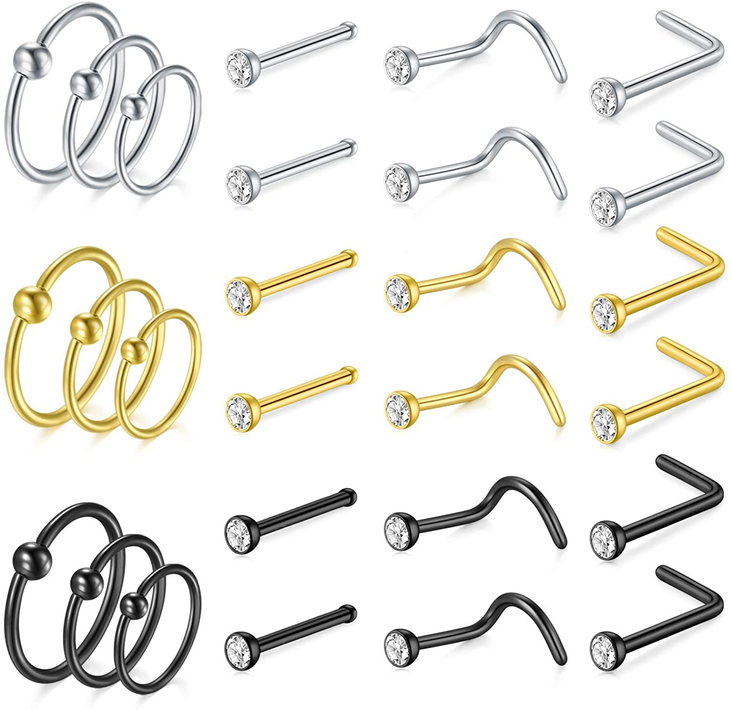 Anicina 22g Nose Rings Hoop Stainless Steel L-Shaped Nose Rings Studs Screw Bone Pin Straight Nostril Piercing Captive Bead Ring Body Piercing Jewelry Set
