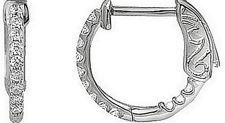 CZ Inside-Outside Hoop Earrings, Sterling Silver